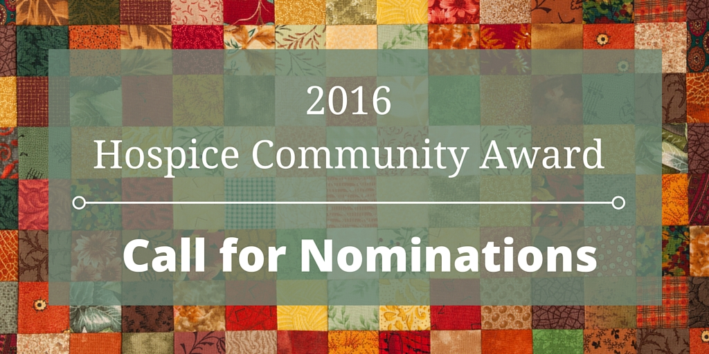2016 Hospice Community Award – Call for Nominations