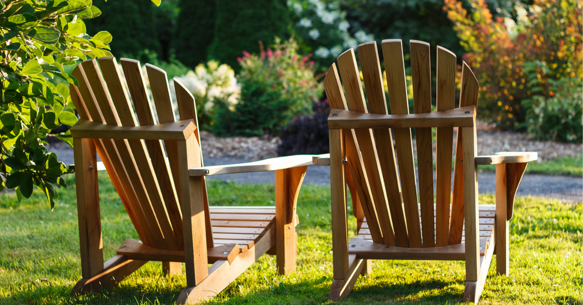 Adironack chairs on the grass
