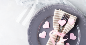 dinner plate setting with hearts